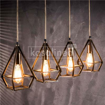 Suspension industrielle couleur bronze TRIANGULO