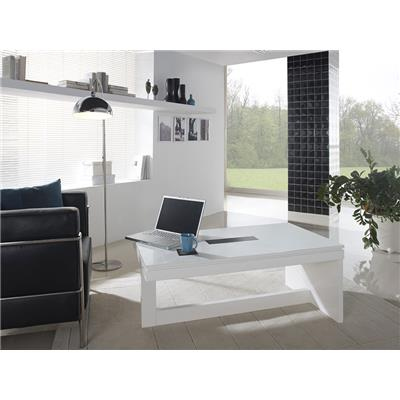 Table basse relevable blanc laqué design EVISTA