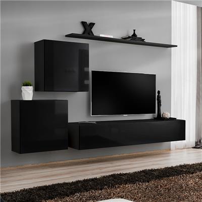 meuble tv suspendu noir alceo 4