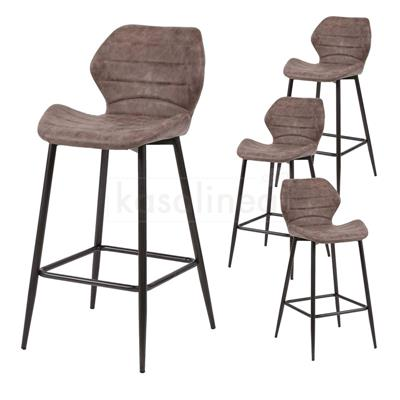 Chaises hautes marron KAVALAN 2, lot de 4