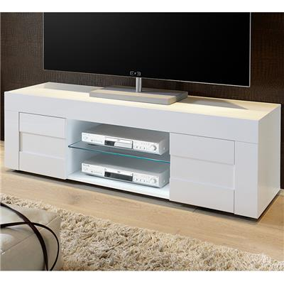 Meuble TV blanc laqué brillant design NEWLAND