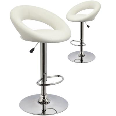 Chaise de bar blanche design MIRANDA (lot de 2)