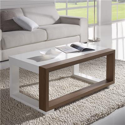 Table basse relevable blanc et cendré contemporaine VALERIA