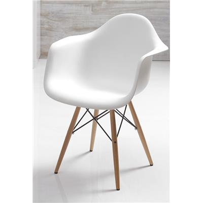 Chaise blanche scandinave avec accoudoirs ELI 2 (Lot de 4)
