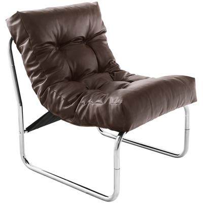 Fauteuil de relaxation marron design PU et chrome ANDREAS4