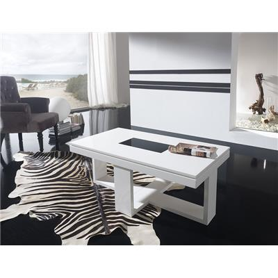 Table basse relevable blanc laqué design COSI