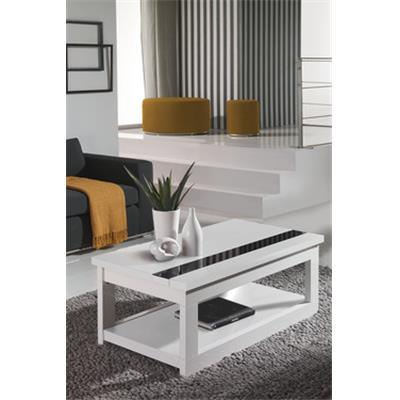 Table basse relevable blanc ou blanc et gris cendré contemporaine POLLY