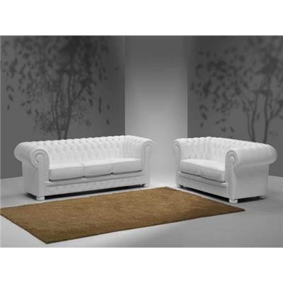 Ensemble canapé fixe 3+2 places en cuir blanc Chesterfield FRANCESCA